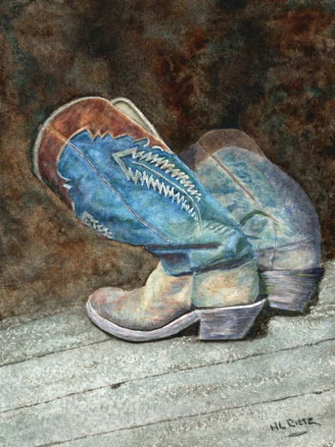 Watercolor painting of cowboy boots