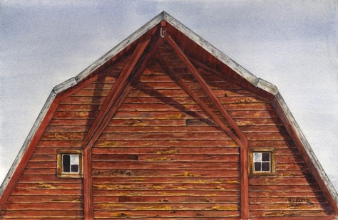 watercolor painting of a barn face