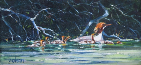 Oil painting of water fowl titled Training Run