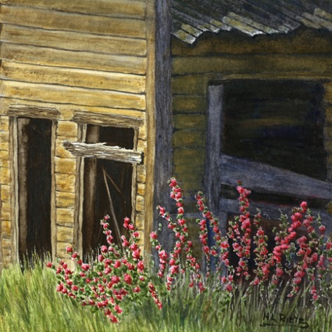 Watercolor painting or wild flowers growing in a ghost town