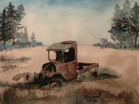 watercolor painting of an old truck