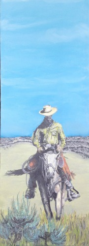 Pencil and chalk western painting