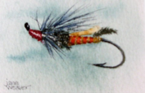 watercolor painting of a fly fishing lure