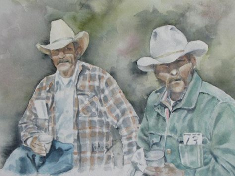 two old cowboys at an auction