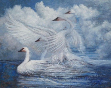painting of a swan