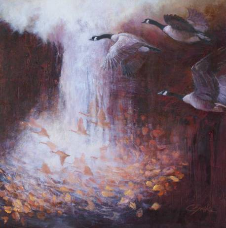 Abstract painting of geese